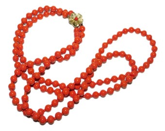 Vintage Orange Coral Color Beaded Necklace w/ Gold Toned Flower Clasp