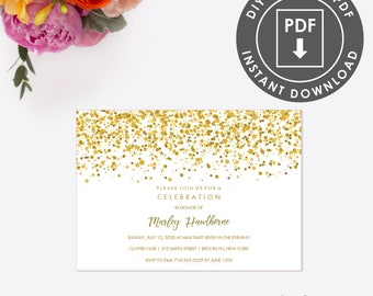 Gold Glitter Bat Mitzvah INVITATION, Instant Download Party Invitation, Printable Template,  EDITABLE Bat Mitzvah Invite, Editable DIY, 009G