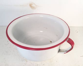 White and Red Trimmed Farmhouse Kitchen Enamelware Bowl With Handle/Shabby Chic Decorative Enamelware Bowl with Handle/Small Enamelware Bowl
