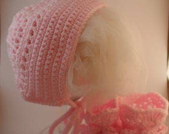 Handmade Crochet Baby Bonnet and booties set, Bonnet, Bonnets. Pink Bonnets, Baby Hat, Summer, Baby gift ideas, Handmade Crochet,