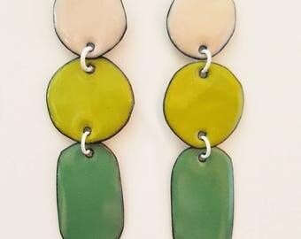 enamel on copper earrings - clover triples #3