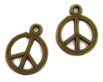 50 Antiqued Bronze  Peace Sign Charms 13mm