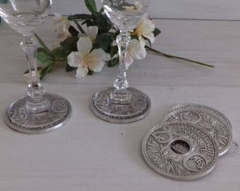 Set of 5 coasters in 1960s France silver