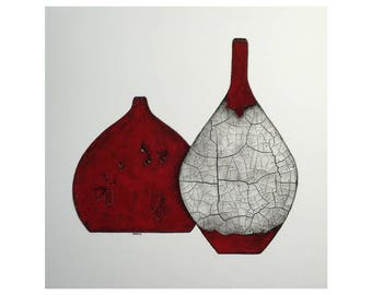 Red And Black Raku Pottery - 24x24, Square Art, Minimal Painting, Black and Red, Red and Black, Raku Pottery, Pots, Still Life, Original