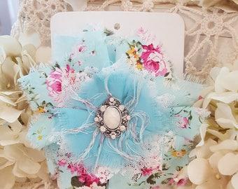 Shabby Tattered Fabric Flower - Erica