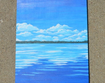 "Blue Sky over the Calm lake, 11x14"" Original Acrylic Painting"