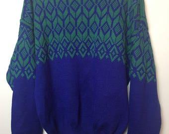 Women's Vintage Ski Sweater 80s 90s