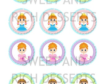 Princess  icing sheet Edible Cupcake/Cookie Toppers