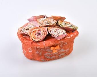 Floral basket of papier mache