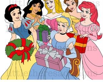 Disney Princess Christmas Iron On Transfer,Digital Transfer,Digital Iron On, Diy