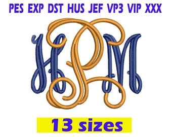 Open Vine Monogram Font Embroidery / Open Vine Monogram embroidery design/ INSTANT download