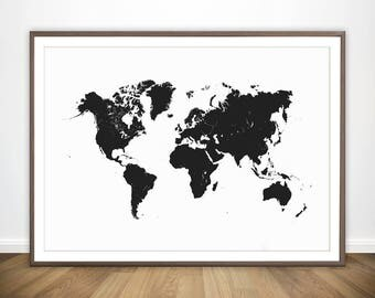 World Map Black and White Print * Large World Map Wall Art World Map Poster World Poster World Map Print World Map Art World Map Printable