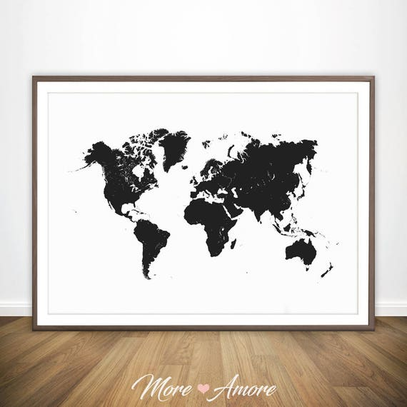 carte du monde noir et blanc impression grand art monde. Black Bedroom Furniture Sets. Home Design Ideas