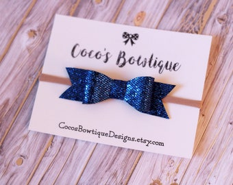 SALE- Glitter Hair Bow - Blue