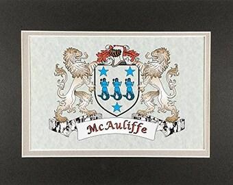 "McAuliffe Irish Coat of Arms Print - Frameable 9"" x 12"""