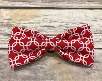 Red Geometric Bow Tie (Pet)