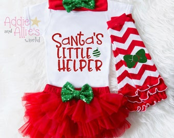 Santa's Little Helper Christmas Outfit Baby, First Christmas Outfit Girl, My First Christmas, Baby First Christmas Outfit, Gift, X9RG
