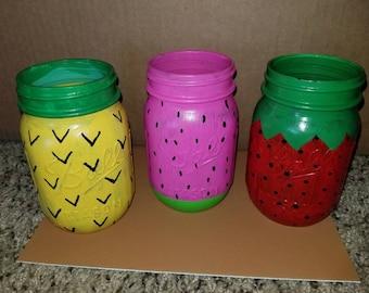 Pineapple, watermelon, and strawberry mason jars