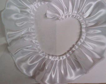 Pleated white satin fabric sewing trim for altered couture, bridal party, evening wear