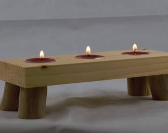Handmade unique home decor natural rustic driftwood log tea light candle holder