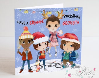 STRANGER THINGS Personalised Christmas card - Son Daughter Eleven Xmas Card