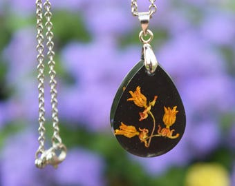 Black and Orange Real Flower Resin Necklace / Wildflower Necklace / Nature Jewelry