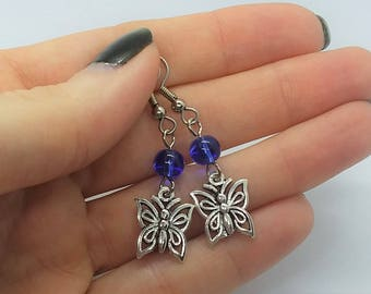 Blue Butterfly Earrings (Pierced or Clip-On)