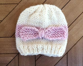 Knitted Baby Beanie, newborn knit hat, hand crocheted item, baby gift, hospital beanie, newborn photo prop, white and pink beanie, pink hat