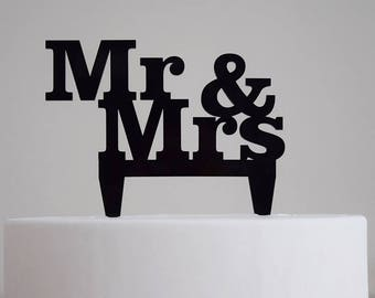 Mr. & Mrs. Cake Topper | Wedding | Bridal Shower | Engagement Party | Love | Acrylic |