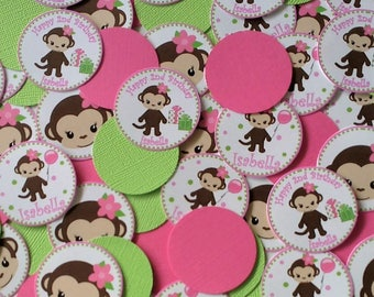 Personalized Pink and Green Monkey Table Top Centerpiece