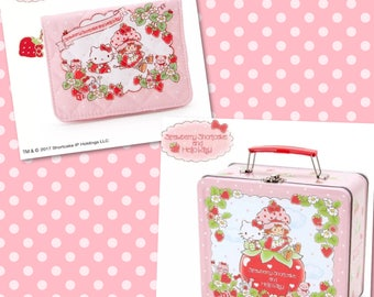 2017 NEW Sanrio STRAWBERRY SHORTCAKE and Hello Kitty quilted tissue zippered pocket snap pouch, and metal lunch pail box