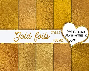 Gold Foils Digital Papers (Style 2) + BONUS Pattern Files, Seamless, Textures, Backgrounds, Clipart, Personal and Commercial Use