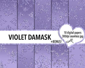 SALE Violet Damask Digital Papers + BONUS Photoshop Pattern File, Seamless, Textures, Backgrounds, Clipart, Personal & Commercial Use
