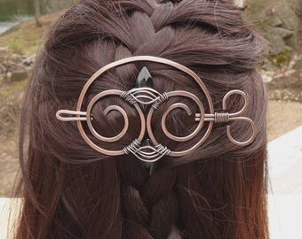 Hair Slide Copper, Hair pin, Hair Clips for women, one of a kind wire wrapped jewelry metal hair barrette, wire wrap hair clip hair barettes