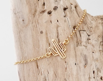 Bohemian chic bracelet thin gold chain and intercalary openwork cactus (BRCH11or)
