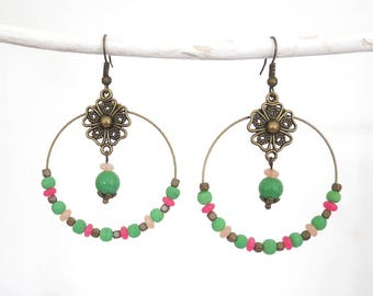 Hoop earrings beaded green Mint, fuchsia, pink powder and bronze with charms (BO21)