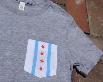 Chicago Flag Pocket Tee-Women