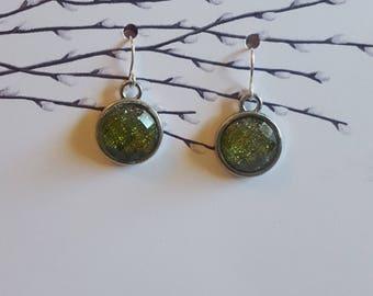 Green Ombre Cabochon Earrings