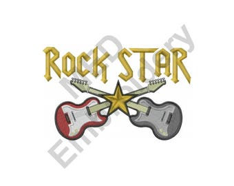 Guitars - Machine Embroidery Design, Rock Star