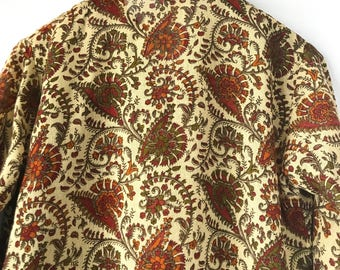 Vintage Handmade Bohemian Paisley Print Tunic Top, 70s linen blouse, Size XS/Small