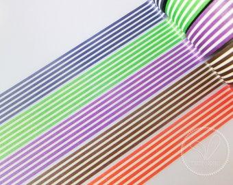 Stripes Washi Masking Tape - Deep Blue, Green, Purple, Chocolate, Tangerine - Planner, Scrapbook, Craft