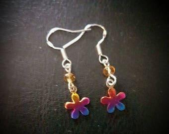 Rainbow Sunset Flower drop hook earrings with yellow bead. summer/festival/hippy/boho/silver/plate/purple/daisy
