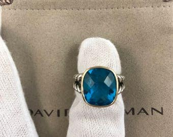 David Yurman ring size 7 with blue topaz 16x12mm and 18k gold