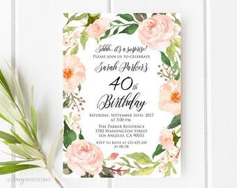 40th Birthday Invitation, Floral Birthday Invitation, Watercolor Birthday Invite, Any Age, PERSONALIZED, Digital file, #W34