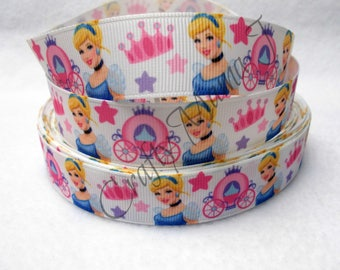 "Cinderella Disney Princess on White 7/8"" Grosgrain Ribbon by the yard. Choose 3/5/10 yards. Cinderella with Crown and Pumpkin Carriage"