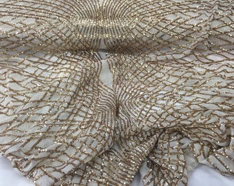 Supreme Gold Venom Diamond Web Embroider Sequins Ivory Mesh Lace Fabric-prom-
