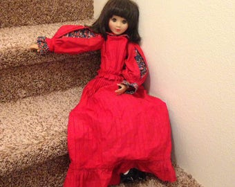 """Vintage Clodrey Langeais doll, 28"""" tall, Made in France"""