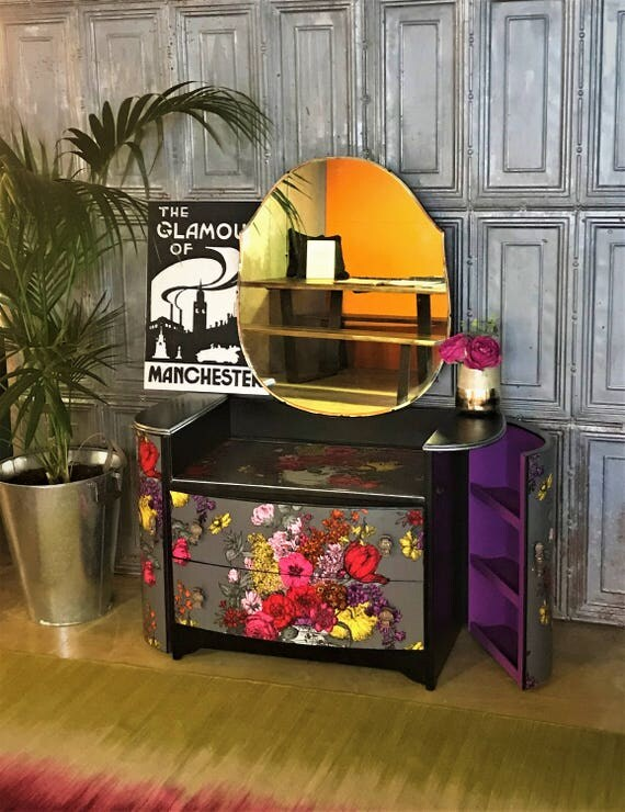 Stunning vintage Art Deco dressing table/drawers upcycled in neon florals design