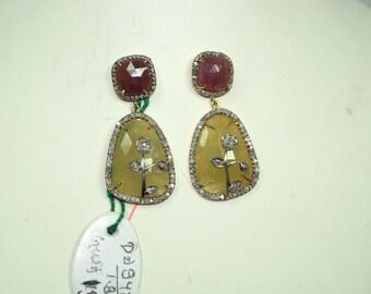 Victorian-style 2.30ctw Pave diamond ruby sapphire dangler designer earrings - 2651720