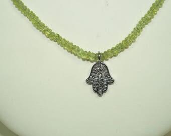 Antique Finish 0.60ctw pave diamonds Hamsa Charm in Tourmaline Necklace Beach Jewelry = SKU RSU009